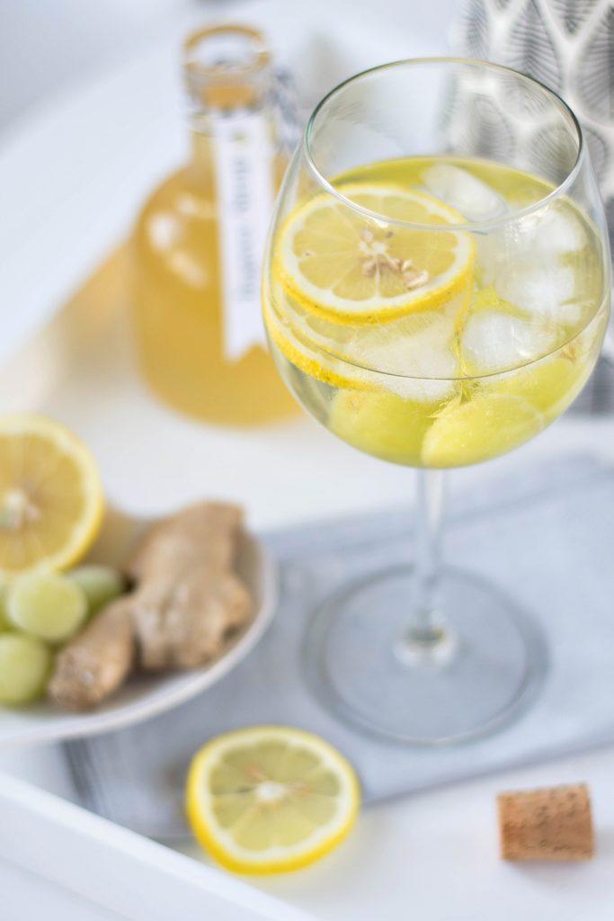 Rezept Ingwer Sirup + gefrorene Weintrauben