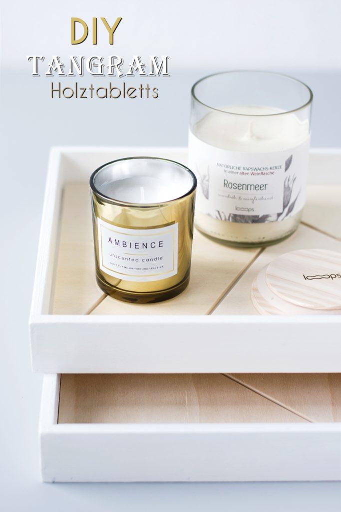 DIY Holz Tablett mit Tangram Muster