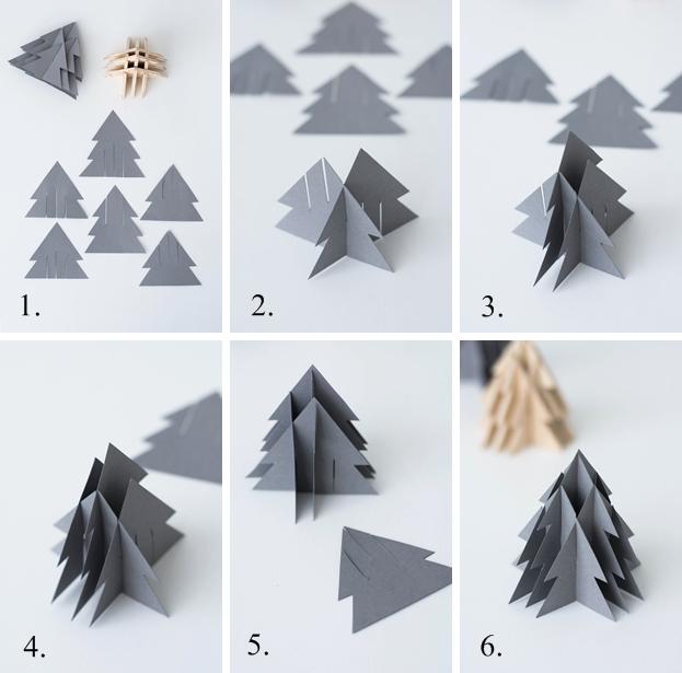 Anleitung: DIY 3-D Tannenbäume aus Papier