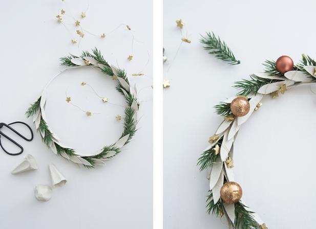 DIY Weihnachtskranz aus Eierkarton