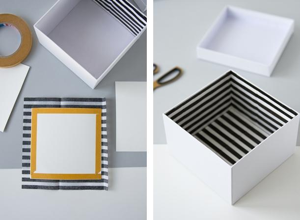 DIY: Schachteln mit Papier auskleiden