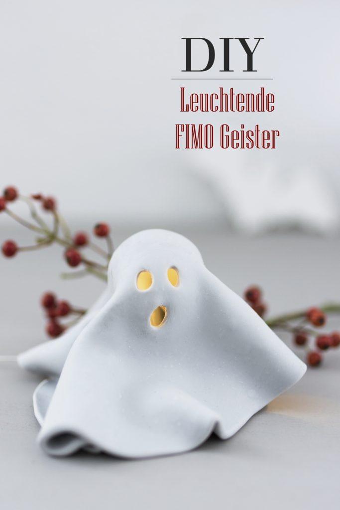 Basteln für Halloween: DIY Leucht Geister aus FIMO #diy #sinnenrauschDIY