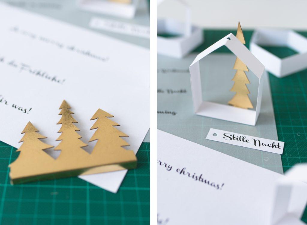 DIY: Zarte Papierhäuschen als Baumschmuck selbermachen. #christmasDIY #sinnenrauschDIY