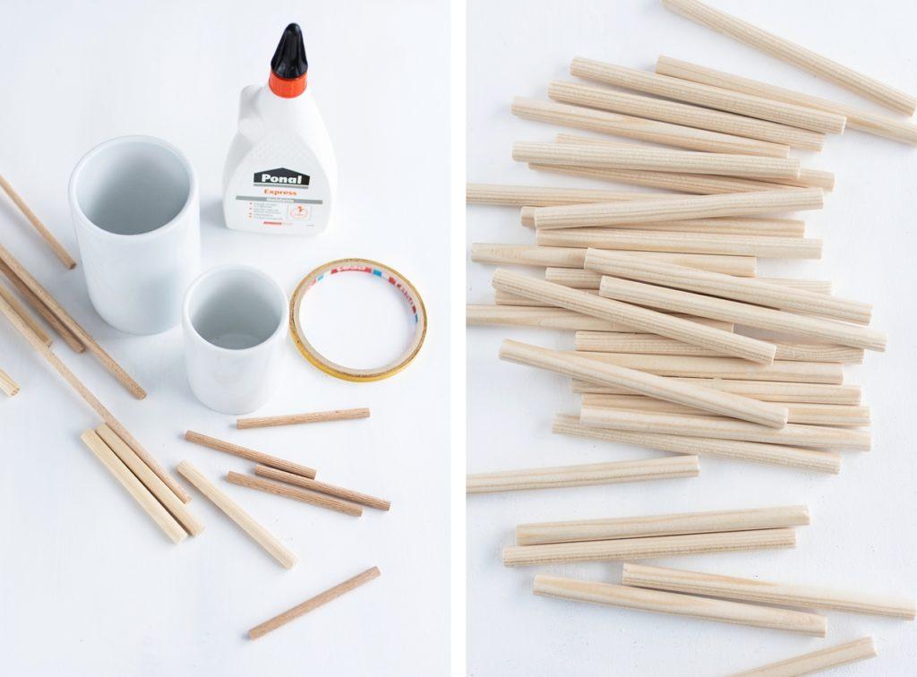 Upcyclingidee: Einfaches Vasen-Makeover mit Rundhölzern