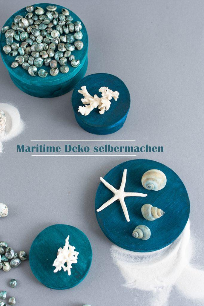 DIY: Maritime Muschel-Boxen in Grün und Blau