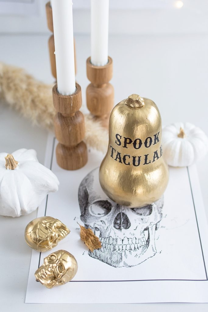 Halloween Deko in Gold + Free Printables zum Gruseln