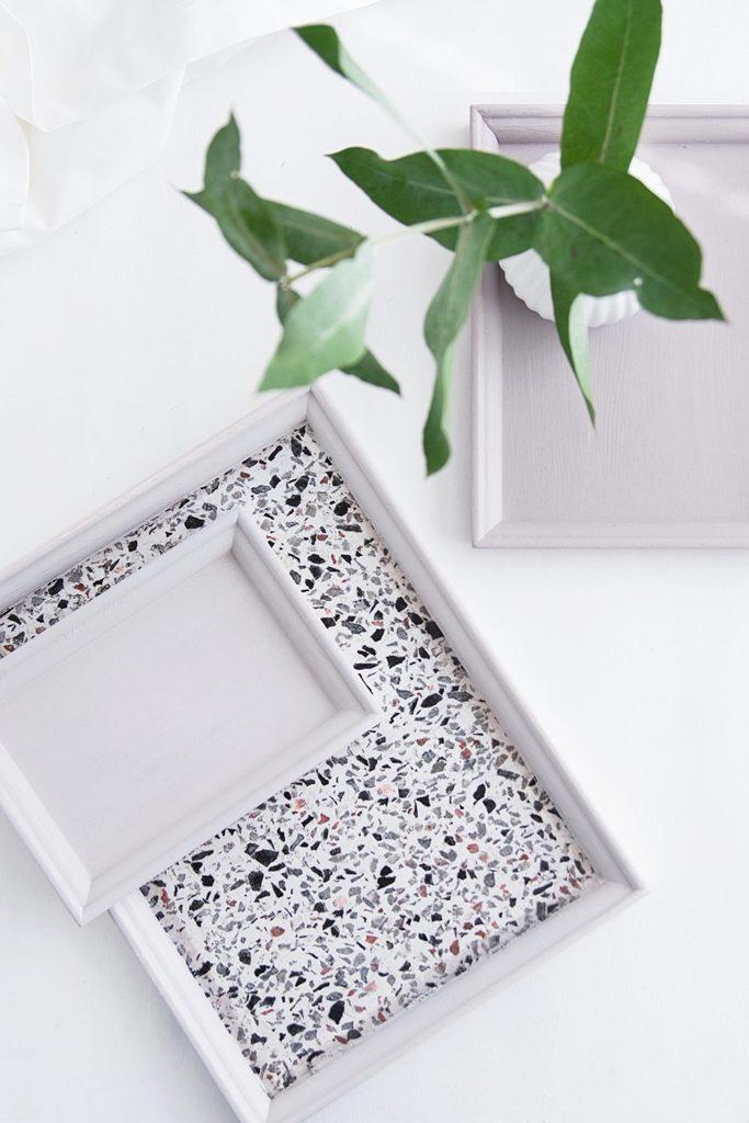 DIY IDEE: Terrazzo Tablett mit Serviettentechnik