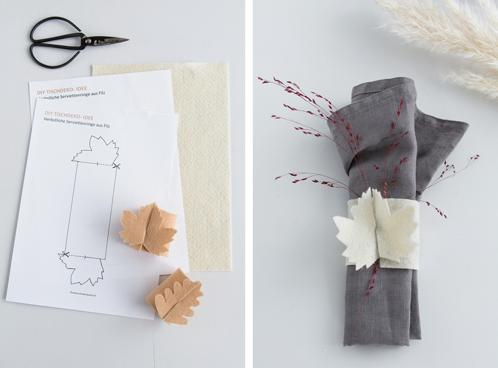 DIY Tischdeko: Filz Serviettenringe in Blattform inklusive Vorlagen