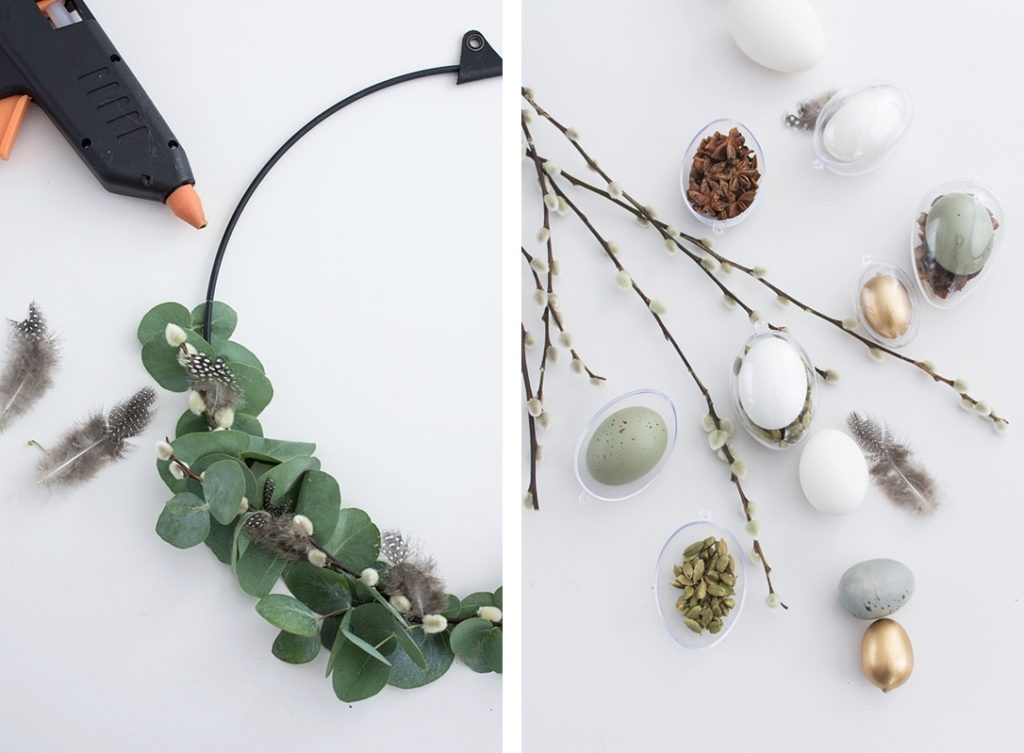 Moderner Osterkranz für die Tür mit Eukalyptus und Gewürzen