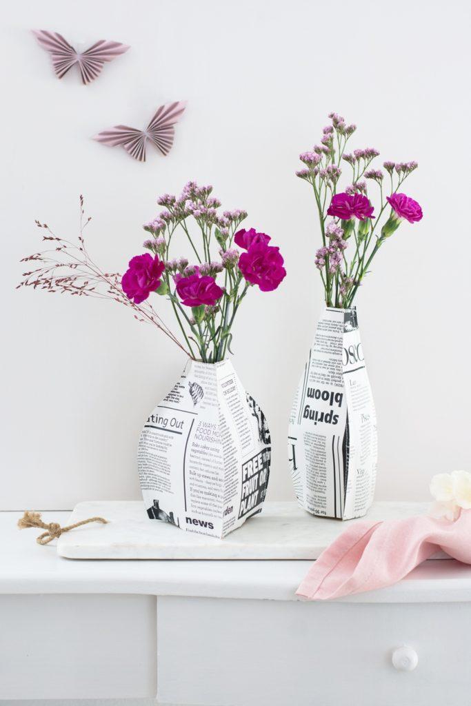 Gastbeitrag |  3D Papiervasen zum Selbernähen für den Frühling  #werbung #meinhofer #hoferat #dabinichmirsicher #diy #sinnenrauschDIY