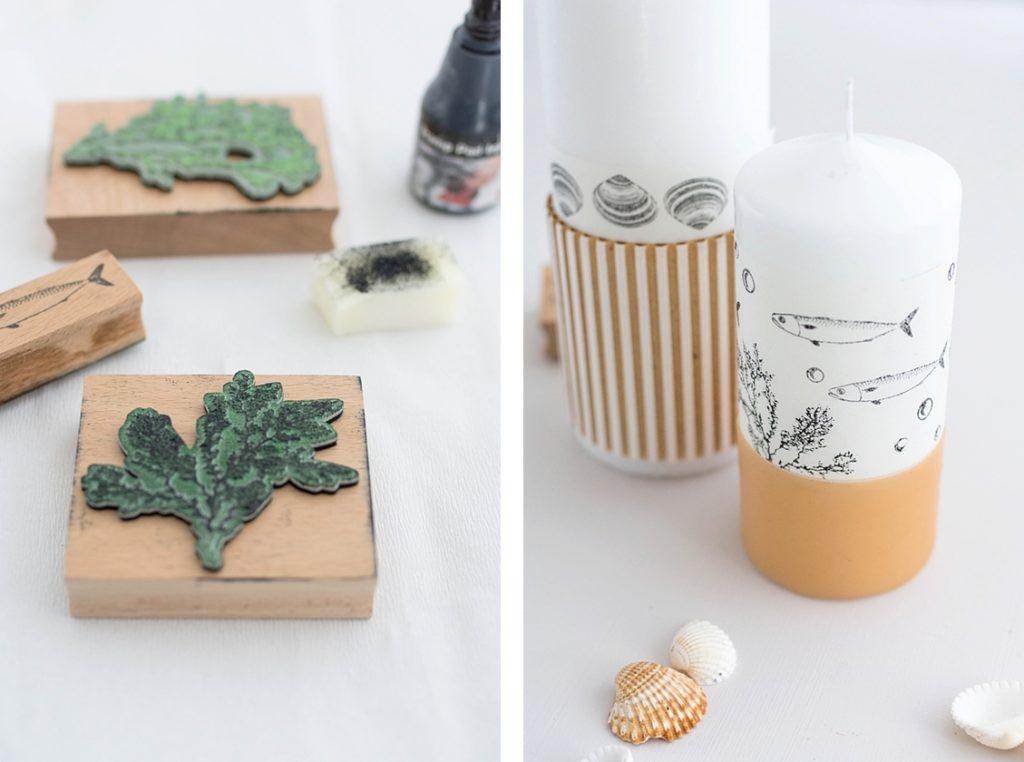Maritime DIY-Idee: Kerzen bestempeln mit transparenter Wachsplatte