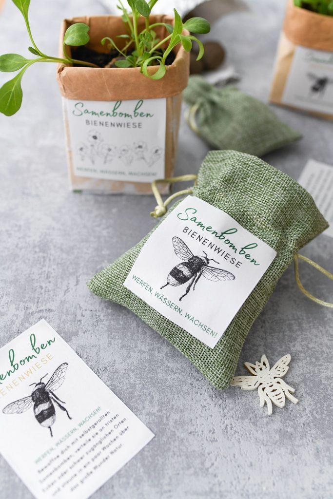 DIY Samenbomben für Bienenwiese selber machen inkl. Etiketten zum Ausdrucken