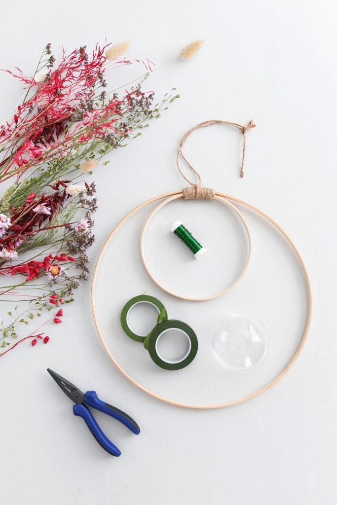 Material für DIY Trockenblumenring