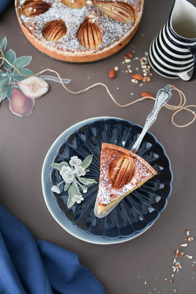 Backen im Herbst: Versunkener Birnenkuchen mit Marzipan und Zimt