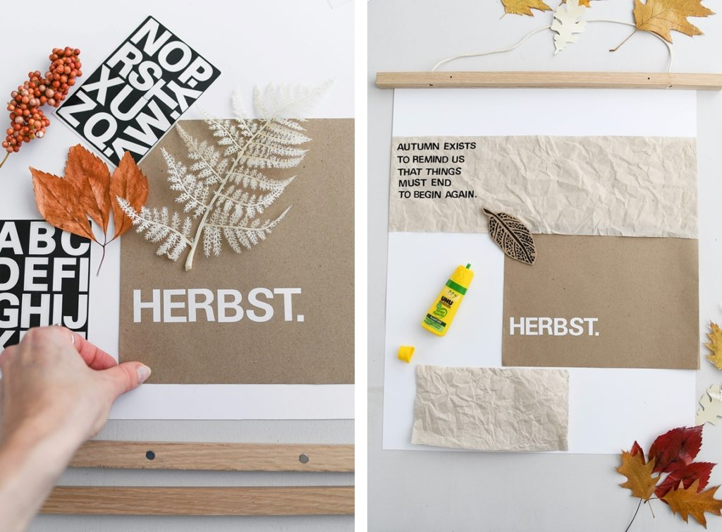 Erstellen Sie ein Herbst-Moodboard mit natürlichen Materialien