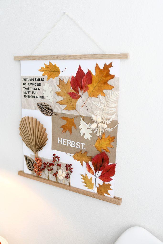 Herbstliches Moodboard mit Naturmaterialien erstellen