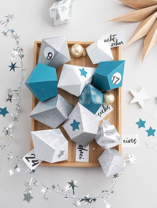 DIY Adventkalender mit Papier Diamanten