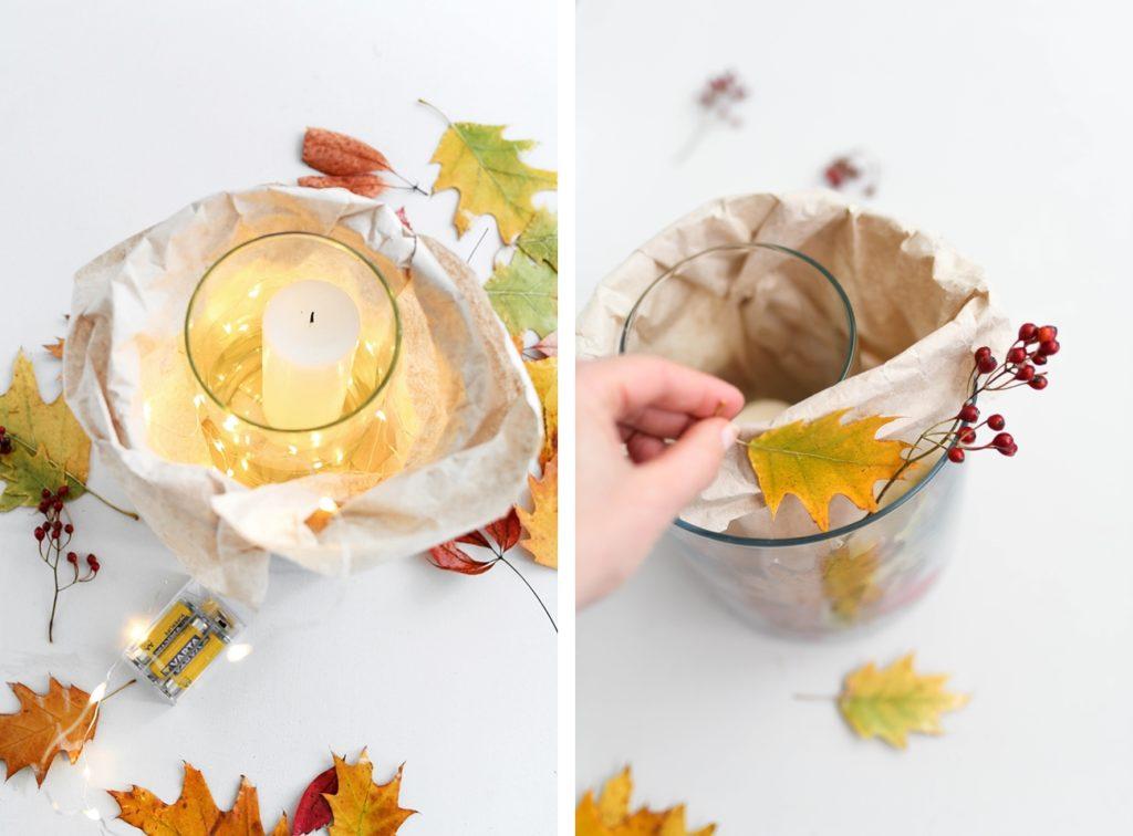 DIY: Machen Sie eine schnelle Laterne mit Herbstlaub