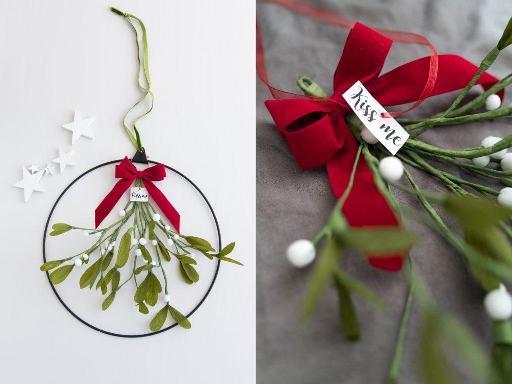 Kreativ-Adventskalender #: DIY Mistelzweig aus Krepp-Papier basteln