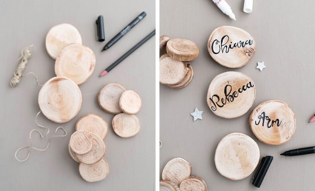 Kreativ-Adventskalender #19: Tischdeko-Ideen mit Holzscheiben