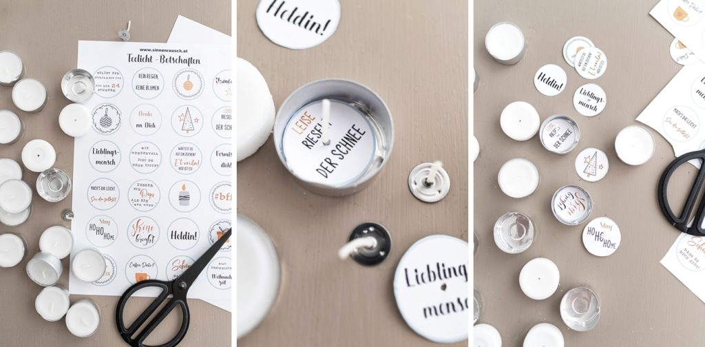 Kreativ-Adventskalender #10: Versteckte Botschaften in Teelichtern als Geschenk-Idee