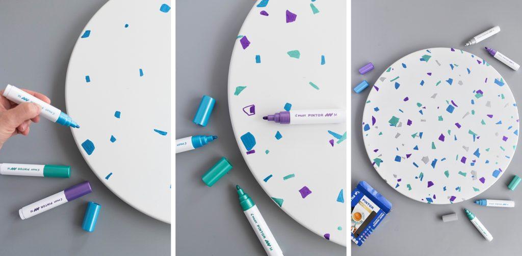 DIY | Terrazzo is back: Beistelltisch mit PINTOR Marker im Konfetti-Look bemalen #ready2diy